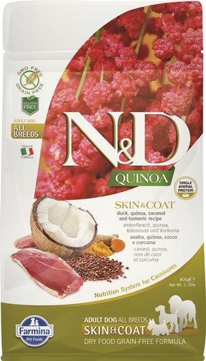 N&D QUINOA SKIN & COAT с патешко месо храна за кучета в зряла възраст от всички породи